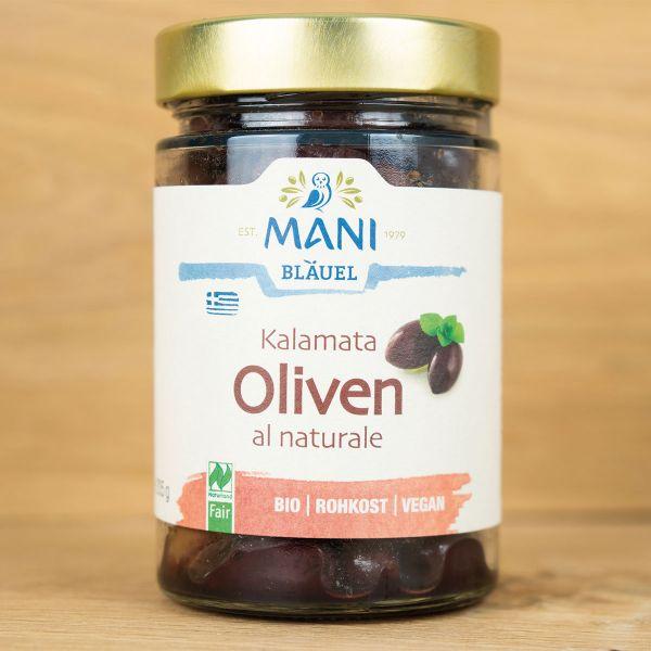 Bio-Oliven mit Stein, schwarz, roh